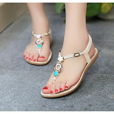 Pentru femei Pantofi PU Vară Confortabili Sandale Toc Drept Negru / Bej / Albastru