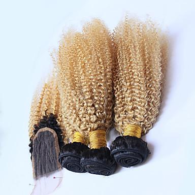 voordelige Weaves van echt haar-3 bundels met sluiting Braziliaans haar Gekruld 10A Mensen Remy Haar Ombre Extentions van mensenhaar Haar Weft met Sluiting Blond Menselijk haar weeft Naturel Hot Sale Ombre-haar Extensions van echt