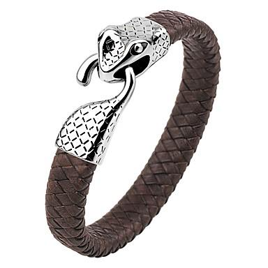 voordelige Herensieraden-Heren Bangles Lederen armbanden Slang Klassiek Vintage Modieus Roestvast staal Armband sieraden Donkerblauw / Koffie / Bruin Voor Lahja Straat