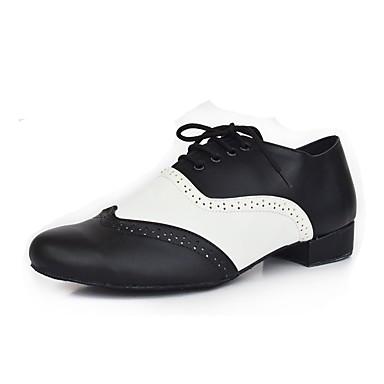 baratos Sapatos de Salsa-Homens Sapatos de Dança Sintéticos Sapatos de Dança Latina / Sapatos de Salsa Recortes Salto Salto Grosso Personalizável Preto / Branco / Espetáculo / Couro