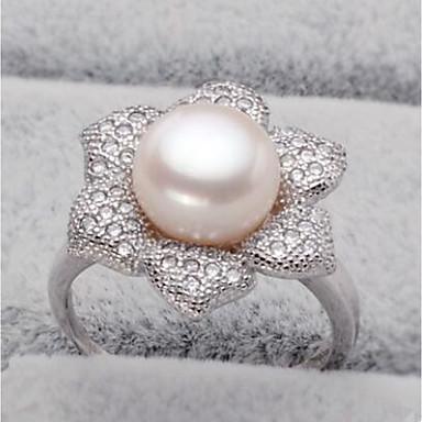 5e938bb85dcb Mujer Perlas de agua dulce Anillo de banda Perla Acero inoxidable S925  Sterling Silver Flor damas