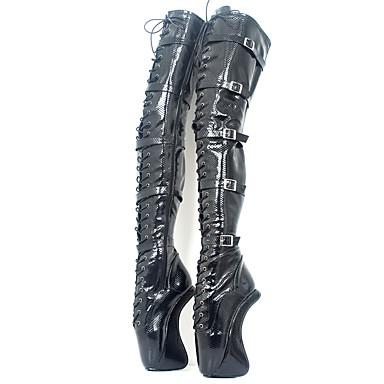 voordelige Dameslaarzen-Dames Laarzen Sexy Schoenen Heterotypic Heel Ronde Teen PU Over de knie laarzen Noviteit / Modieuze laarzen Herfst winter Zwart / Feesten & Uitgaan