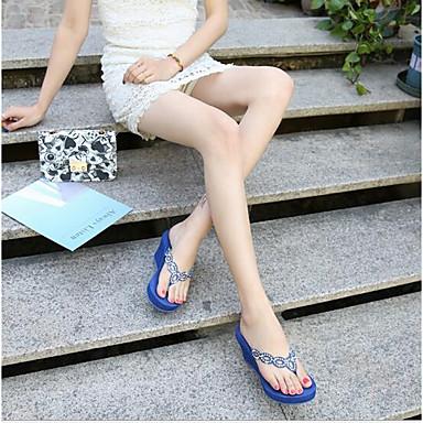 voordelige Damespantoffels & slippers-Dames Slippers & Flip-Flops Sleehak Nappaleer / Leer Comfortabel Zomer Wit / Zwart / Blauw