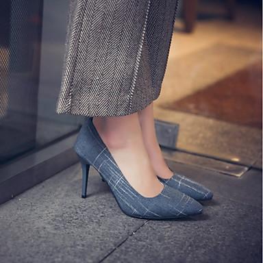 Marron Talons Talon Noir Femme pointu à Bleu Chaussures Chaussures Bout Confort 06656867 Printemps Automne Tissu Aiguille qA8OqBw0
