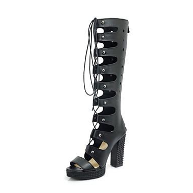 Printemps Chaussures Femme Blanc Rubans Soirée Similicuir Evénement Sandales amp; Confort été Noir Talon Bottier ouvert 06669415 Bout nEpBxpW