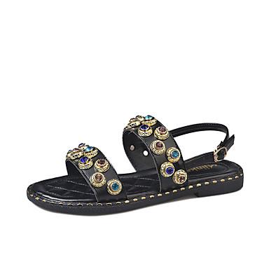 Zapatos Sandalias 06713903 Mujer PU Verano Blanco Plano Negro Tacón Confort FgwqaxIwd