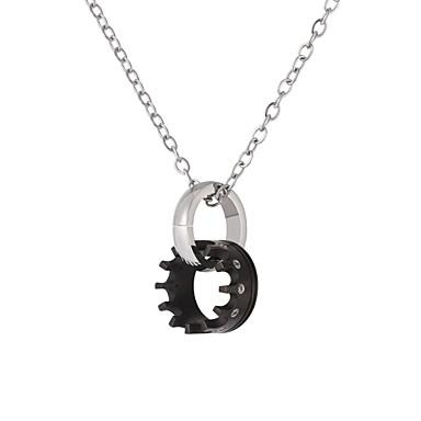 voordelige Herensieraden-Hangertjes ketting Tandwiel Vergrendelende cirkel Modieus Roestvast staal Zwart Goud Rose 55 cm Kettingen Sieraden Voor Dagelijks