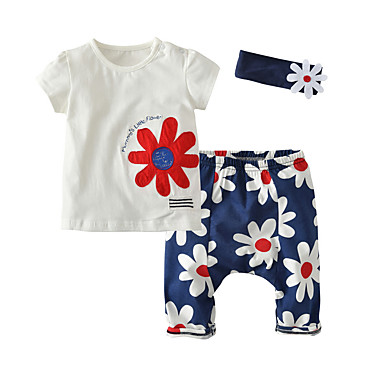 Bebelus Fete Floral Manșon scurt Set Îmbrăcăminte