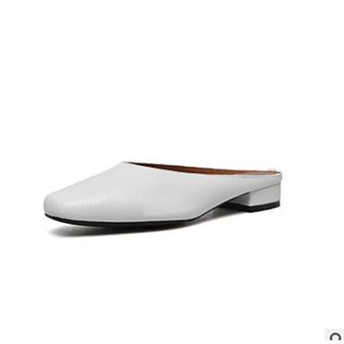 Confort Mules Noir Eté Sabot Cuir amp; Chaussures Talon Femme Bas Blanc 06669469 qwTtn