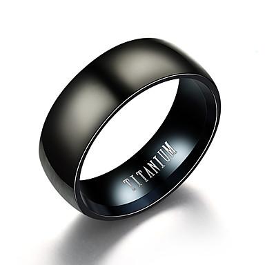 voordelige Herensieraden-Heren Bandring Zwart Titanium Staal Wolfraamstaal Roestvrij staal Cirkelvorm Vintage Initial Dagelijks Avond Feest Sieraden