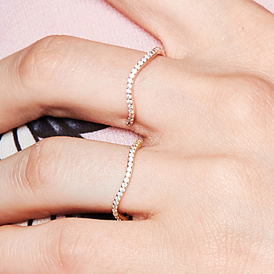 billige Motering-Dame Diamant Kubisk Zirkonium Åpne Ring Evigheten Ring S925 Sterling Sølv Bølge Dainty damer Grunnleggende Søt Motering Smykker Rose Gull Til Daglig Ut på byen 8