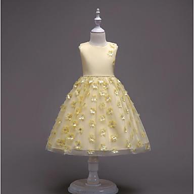 Χαμηλού Κόστους Ρούχα για Κορίτσια-Νήπιο Κοριτσίστικα Ενεργό Πάρτι Εξόδου Φλοράλ Στάμπα Αμάνικο Ως το Γόνατο Βαμβάκι Πολυεστέρας Φόρεμα Ανθισμένο Ροζ / Χαριτωμένο