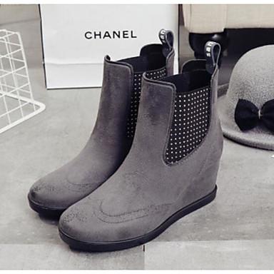 Gemelo Borgoña Nobuck Gris Negro Cuero Otoño Mitad Zapatos Mujer lluvia Cuña Botas 06684247 Tacón de de Botas 74ZEqx6