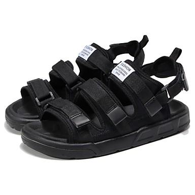 Men's Black Light Soles Synthetic Summer Comfort Sandals Black Men's / Black / White f95134