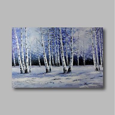 Hang-Malowane obraz olejny Ręcznie malowane - Abstrakcja / Krajobraz Nowoczesne Naciągnięte płótka / Rozciągnięte płótno