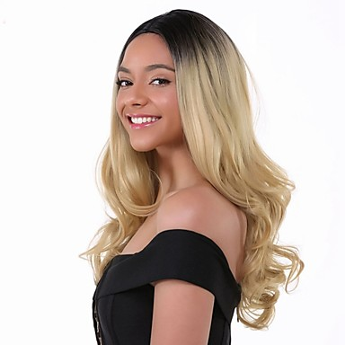 Remy Human Hair Lace Front Wig Brazilian Wavy Blonde Layered Haircut 130 Density