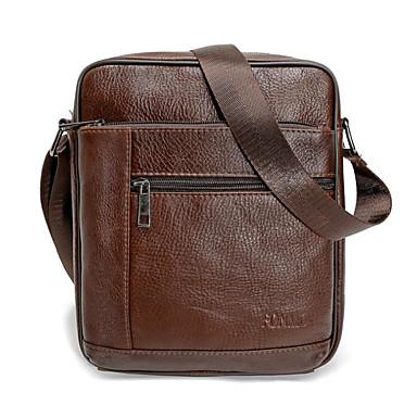 7554c88089 Men s Bags Genuine Leather Shoulder Bag Zipper Black   Brown