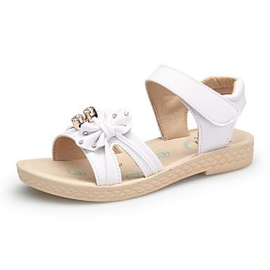 Dla dziewczynek Obuwie Skóra Wiosna lato Comfort Sandały Sztuczna perła / Tasiemka na White / Różowy / Light Blue