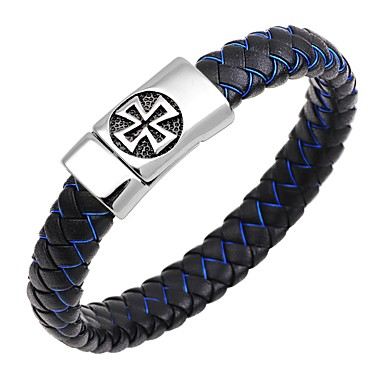 baratos Bangle-Homens Bracelete Pulseiras de couro Magnética Cruz Circle Cross Clássico Punk Fashion Aço Inoxidável Pulseira de jóias Azul Escuro / Café / Marron Para Presente Trabalho / Pele
