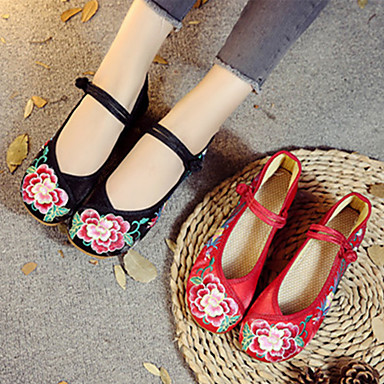 Plano 06701674 Dedo redondo Mujer Rojo Hebilla Verano Tela Negro Tacón Confort Zapatos Bailarinas wYa7w4