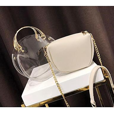 Damskie Torby PU torba Zestawy 2 zestawy portfeli Guziki / Zamek Blushing Pink / Gray / Yellow / Przezroczyste torby