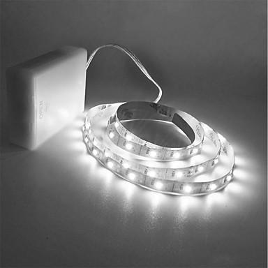 abordables Bandes Lumineuses LED-ZDM® 1.5m Guirlandes Lumineuses 300 LED 2835 SMD Blanc Chaud / Blanc Froid Découpable / Pour Véhicules / Auto-Adhésives Piles AA alimentées 1pc