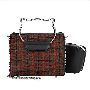 Damskie Torby Brezentowy torba Zestawy 2 zestawy portfeli Zamek Gray / Dark Brown / Khaki