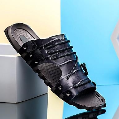 Męskie Komfortowe buty Skóra bydlęca Lato Klapki i japonki Biały / Czarny / Brązowy