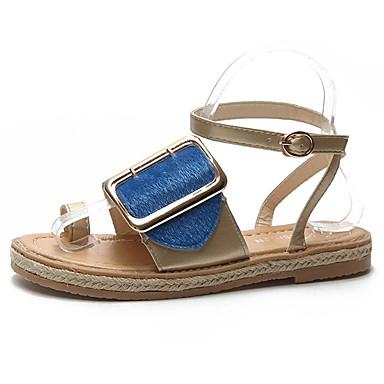 Pentru femei Pantofi PU Vară Confortabili Sandale Toc Drept Negru / Fucsia / Albastru