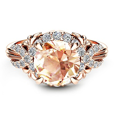cheap Rings-Women's Champagne Synthetic Diamond Solitaire Round Cut Halo Engagement Ring Cubic Zirconia Rose Gold Plated 18K Rose Gold Plated Ball Ladies Classic Holiday Tropical Oversized Ring Jewelry Champagne
