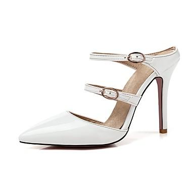 Mulheres Sapatos Courino Primavera Verão Chanel Sandálias Salto Agulha Dedo Apontado Presilha Amarelo / Vermelho / Rosa claro / Casamento