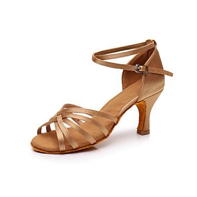 0a998272f250 Dame Sko til latindans   Salsasko Silke Sandaler   Sneaker Spænde   Rosette  Personligt tilpassede hæle Kan tilpasses Dansesko Sølv   Brun   Gyldent ...
