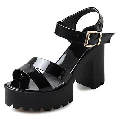 Damskie Obuwie PU Lato Comfort Sandały Block Heel White / Black