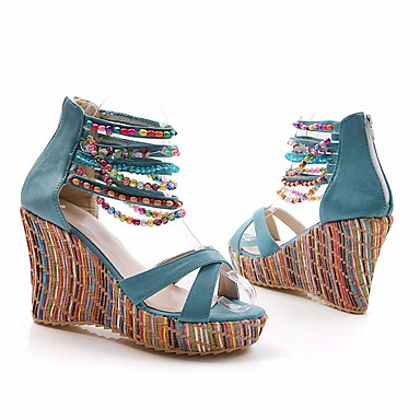 semelle Hauteur compensée Orange Bleu Chaussures de Eté Polyuréthane Confort 06671823 Rose Femme Sandales C01FXq