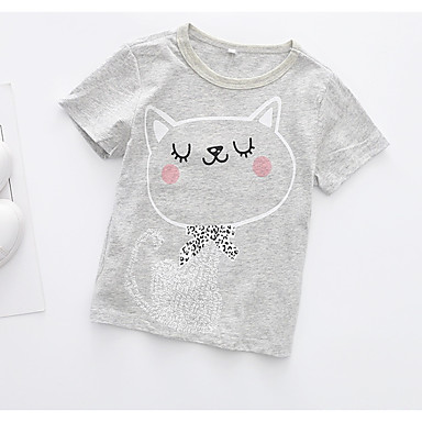 baratos Blusas para Meninas-Bébé Para Meninas Activo Diário Gato Geométrica Estampado Manga Curta Padrão Algodão Camiseta Cinzento