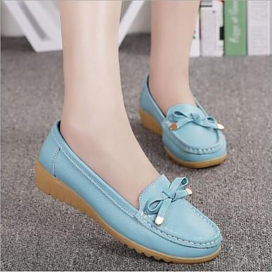 Žene Cipele Koža Proljeće ljeto Udobne cipele Ravne cipele Wedge Heel Crn / žuta / Plava
