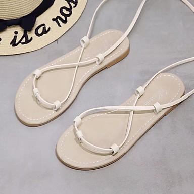 Dedo Mujer Sandalias Cuero Zapatos redondo Confort Beige Negro Tacón Plano Semicuero Primavera verano 06697554 zzU6Wnx