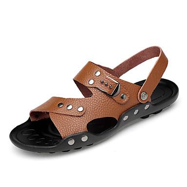 Bărbați Imitație Piele Vară Confortabili Sandale Negru / Maro Deschis / Maro Închis