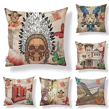 6 buc Textil / Bumbac / In Față de Pernă, Floral / Art Deco / Imprimare Artistic / Formă pătrată