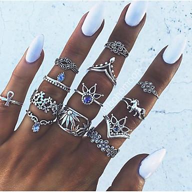 Χαμηλού Κόστους Μοδάτο Δαχτυλίδι-Δαχτυλίδι για τη μέση των δαχτύλων Σετ δαχτυλιδιών Κράμα Λουλούδι κυρίες Βίντατζ Ευρωπαϊκό Μοντέρνα Μοδάτο Δαχτυλίδι Κοσμήματα Ασημί Για Πάρτι Καθημερινά 7 13pcs