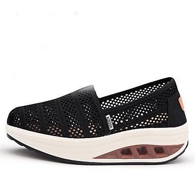 ouvert compensée Chausson Chaussons de Hauteur Tricot Mocassins Berceau Chaussures Noir de été et Printemps Bout 06701874 D6148 Femme semelle wznqxaIX6X
