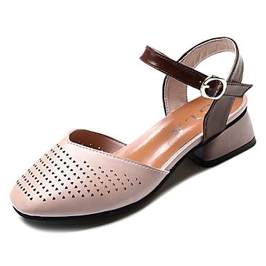Sandalias Mujer 06675759 Almendra Tacón Cuadrado Verano Zapatos Confort Beige PU 61rq1SI