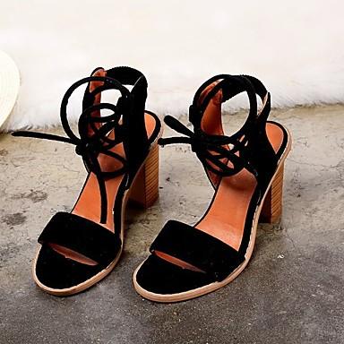 Pentru femei Pantofi Piele nubuc Vară Confortabili Sandale Toc Îndesat Negru / Camel / Roșu Vin
