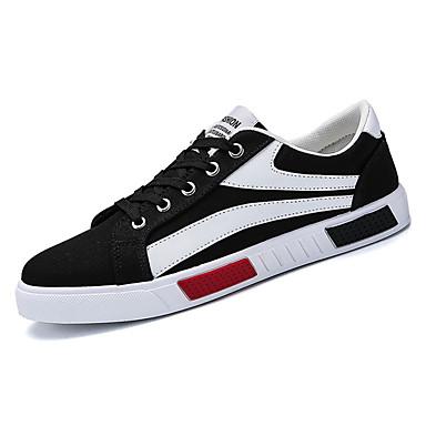 Męskie Buty Materiał / PU Lato Comfort Tenisówki White / Black / Czerwony