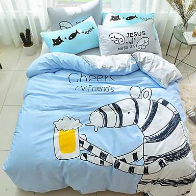 Bettbezug-Sets Cartoon Design Polyester / Baumwolle Reaktivdruck 3 StückBedding Sets