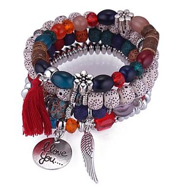 billige Motearmbånd-Dame Syntetisk Tanzanitt Perlearmbånd Perler Kreativ damer Vintage Etnisk Mote Snor Armbånd Smykker Grå / Regnbue / Blå Til Fest Maskerade
