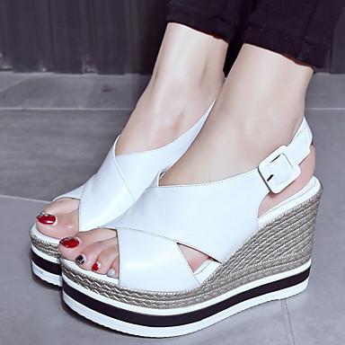 Noir semelle compensée Boucle Chaussures Femme Confort Nappa Cuir 06765345 ouvert Hauteur Sandales Blanc Bout de Eté UBxwfSq