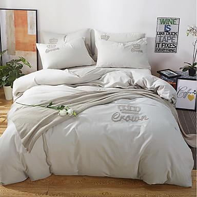 bettbezug sets einfarbig 100 baumwolle stickerei 4 st ck bettw sche sets 400 4pcs 1. Black Bedroom Furniture Sets. Home Design Ideas