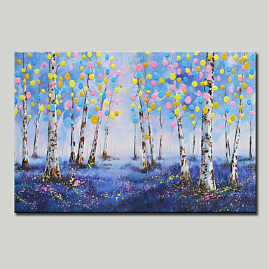 Hang-pictate pictură în ulei Pictat manual - Peisaj / Floral / Botanic Modern Includeți cadru interior / Stretched Canvas