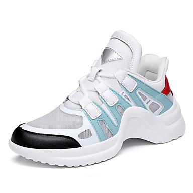 Pentru femei Pantofi PU Primavara vara Confortabili Adidași de Atletism Plimbare Toc Drept Vârf rotund Roz și alb / Negru / Alb / Alb și Verde